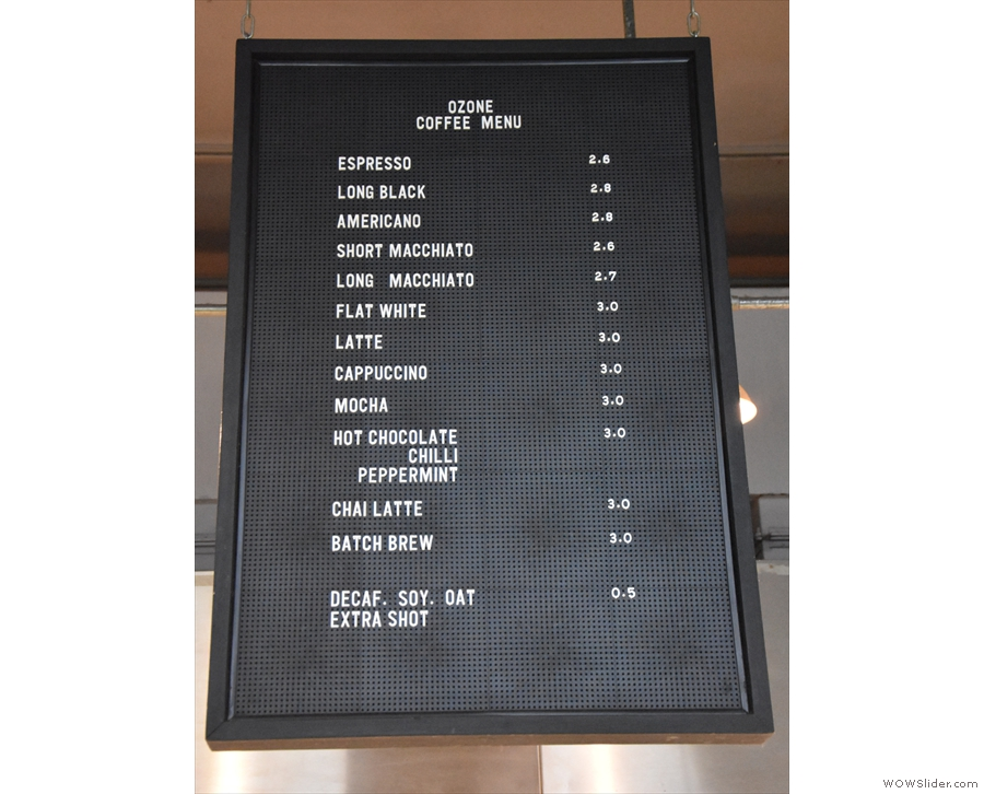To business. A coffee menu hangs above the counter, although it's really only for takeaway.