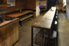 A view of the basement seating from the far end.