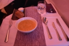 First course was a tasty sweetcorn soup...