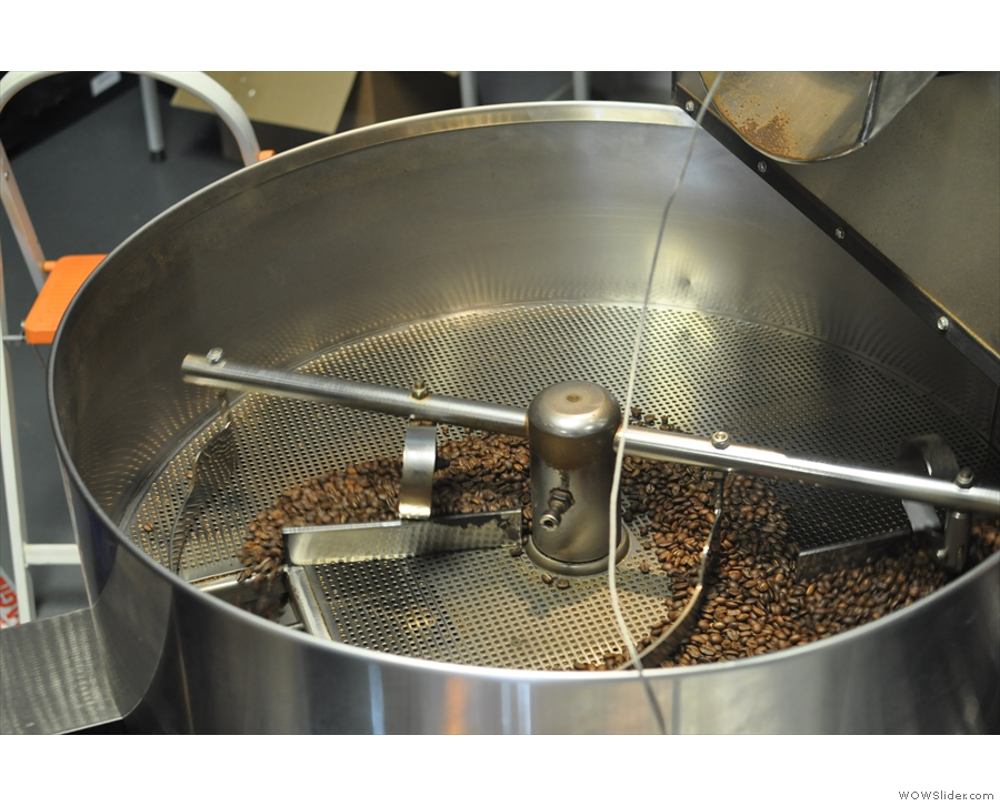 An important part of this process is filtering; only coffee beans are allowed through...
