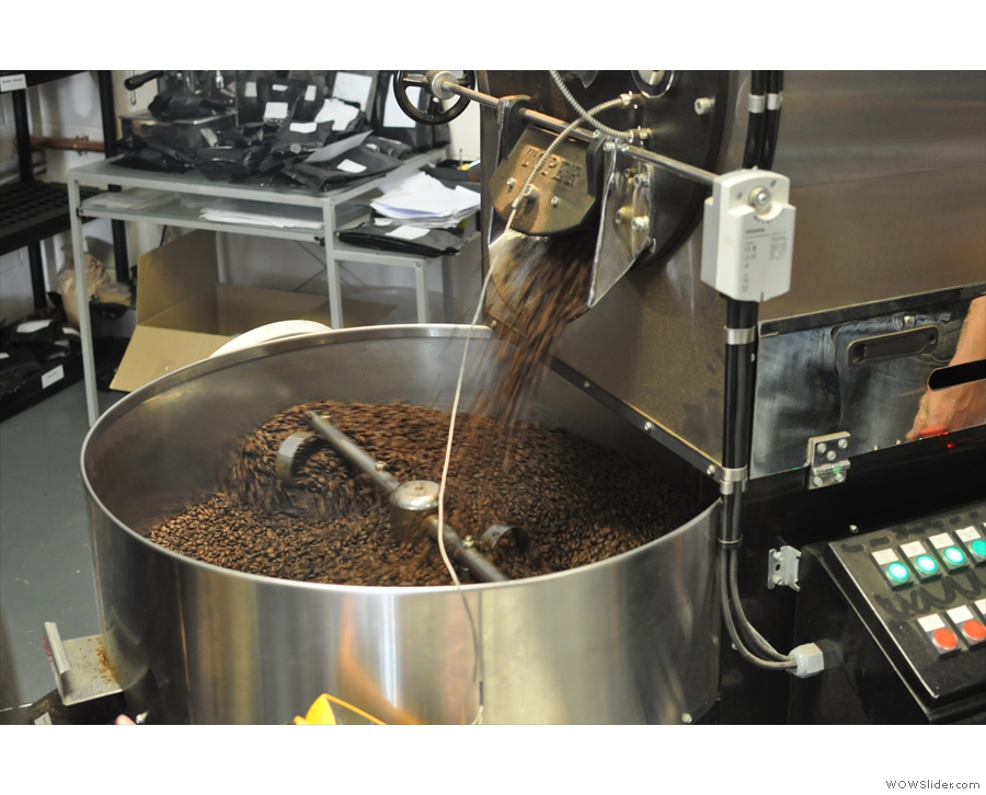 It's important to cool the beans as quickly as possible to stop any further roasting.