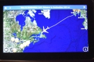 Approaching the Canadian coast after about four hours of flying over the Atlantic...