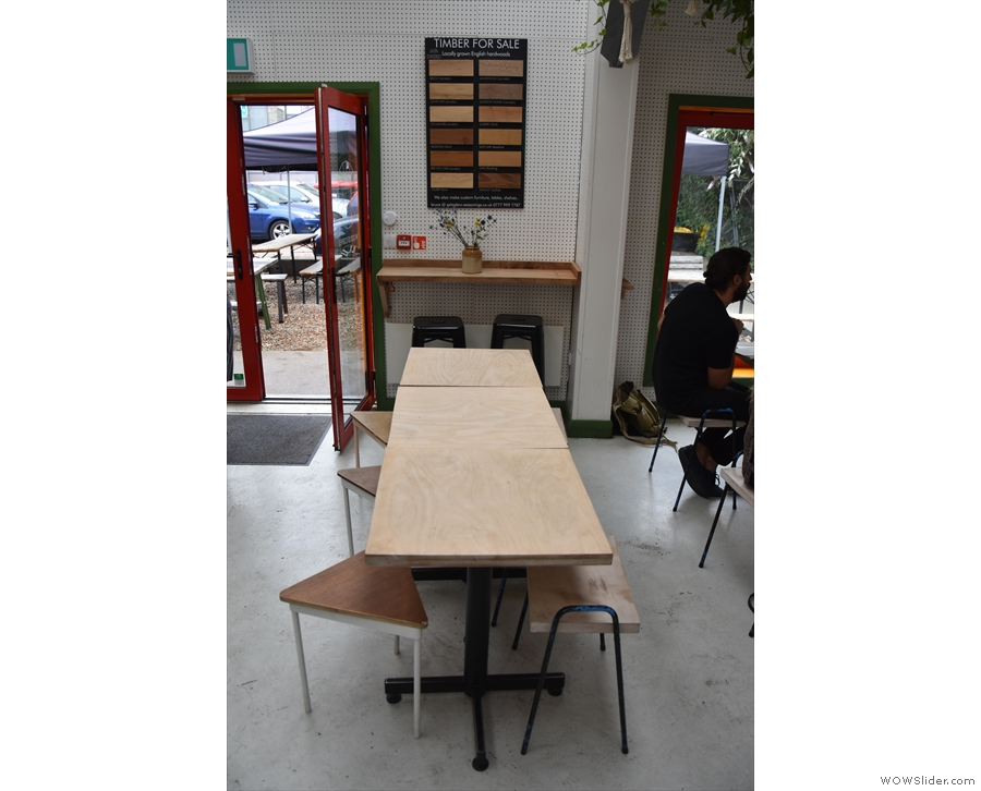 ... pushed together to form a single, six-person table.