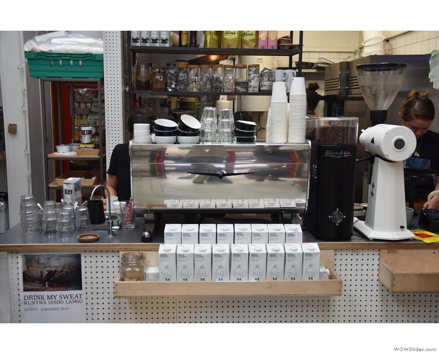 Espresso is courtesy of a very shiny Victoria Arduino Black Eagle machine on the counter...