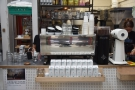 Espresso is courtesy of a very shiny Victoria Arduino Black Eagle machine on the counter...