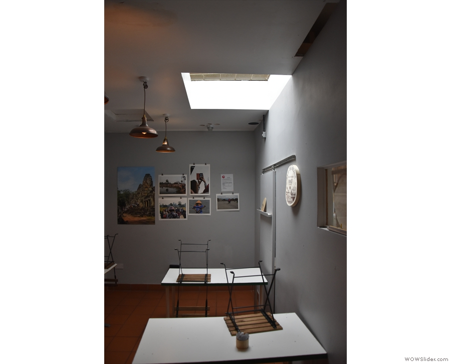 ... in the day, so the tables had been tidied up for the night. Check out the skylight.
