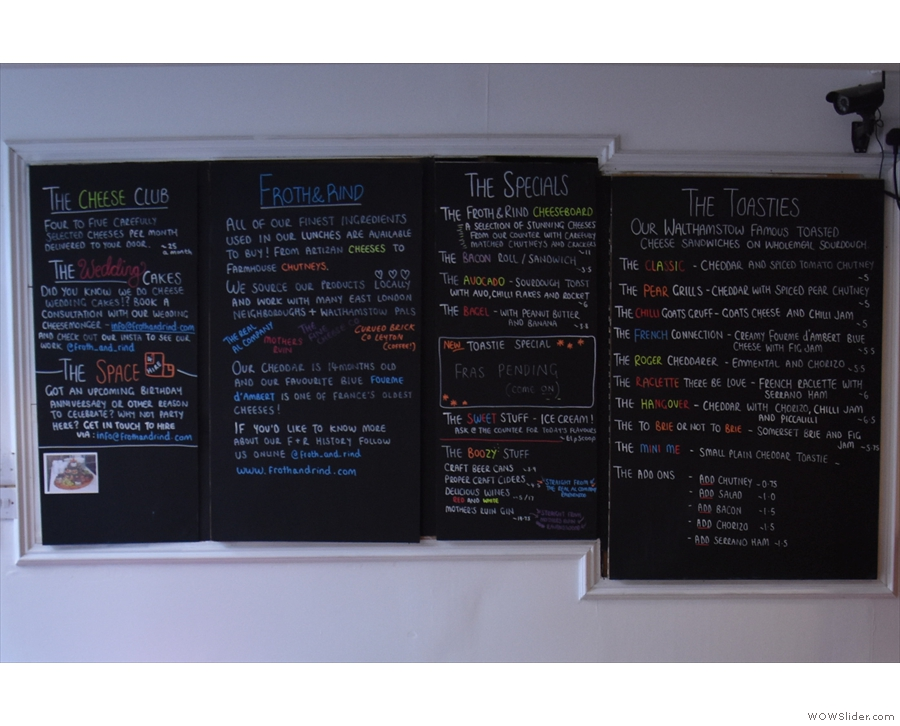 If you want something more substantial, there's a toastie menu on the left-hand wall.
