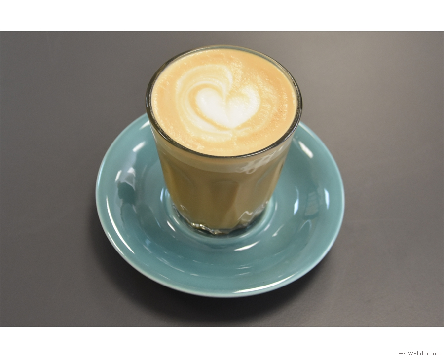 The cortado was made with Square Mile's seasonal decaf.