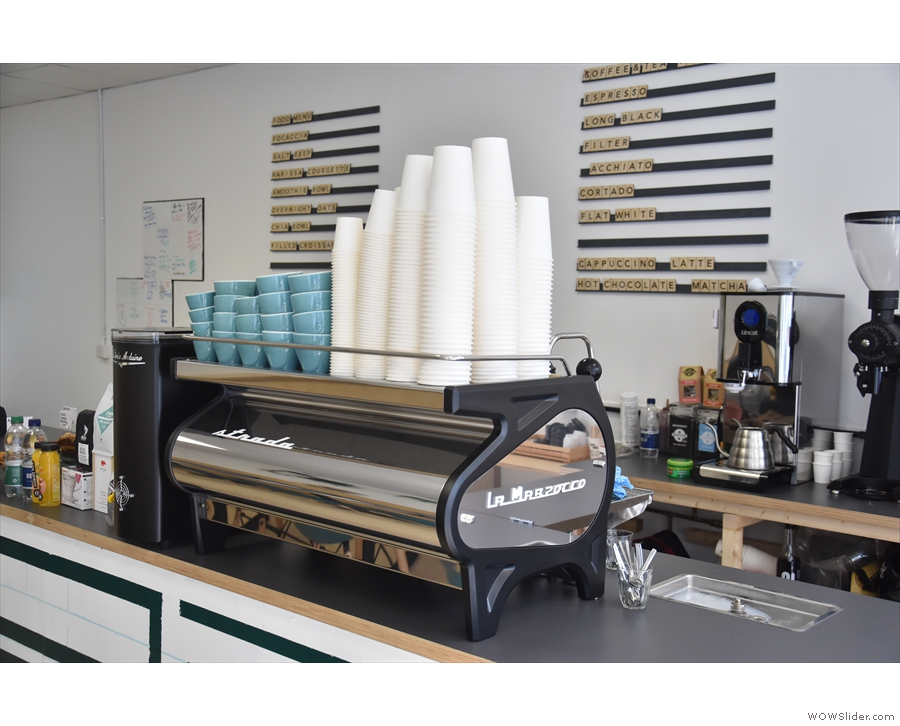 ... where pride of place goes to the two-group La Marzocco Strada espresso machine.