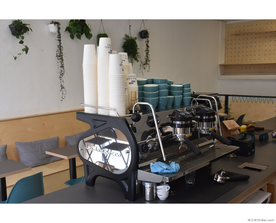 ... if you turn around, you can watch the La Marzocco in action.