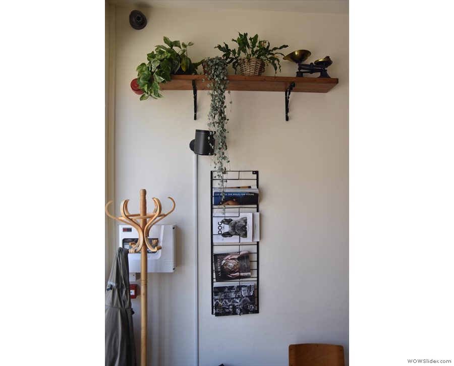 Some more interesting features: this magazine rack and plants are at the front...