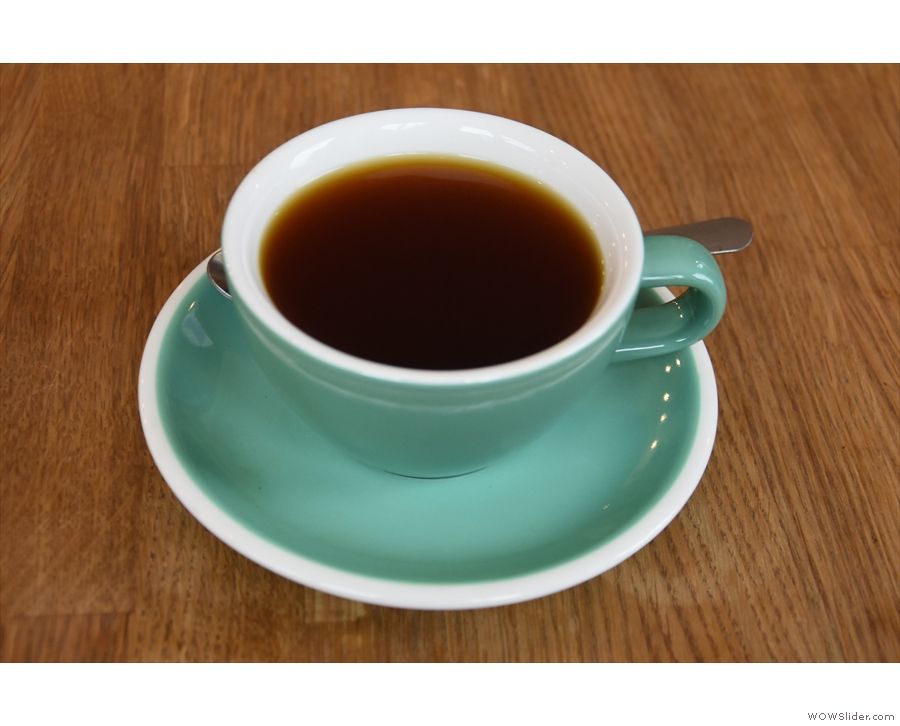However, I decided to go with the batch brew, a Colombian single-origin...