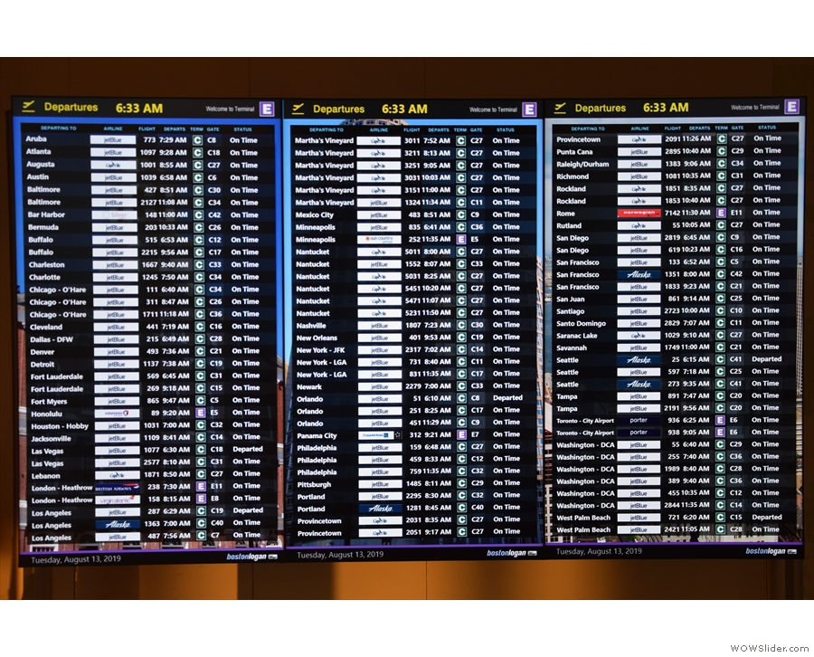 Look at all those flights! However, almost all of them are from Terminal C. Terminal E...
