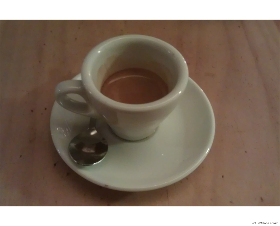 So, to business. A bad photo of a lovely espresso.