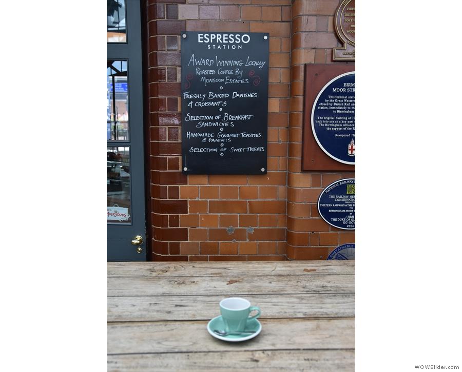 My espresso checks out the notice board...
