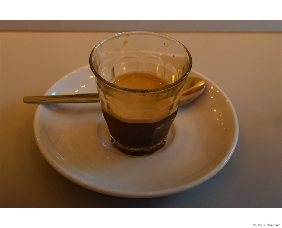 I tried the Ethiopian single-origin espresso, served in a glass...
