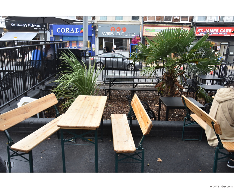 If you want to sit outside, there's a communal terrace with picnic tables in front of Crate...
