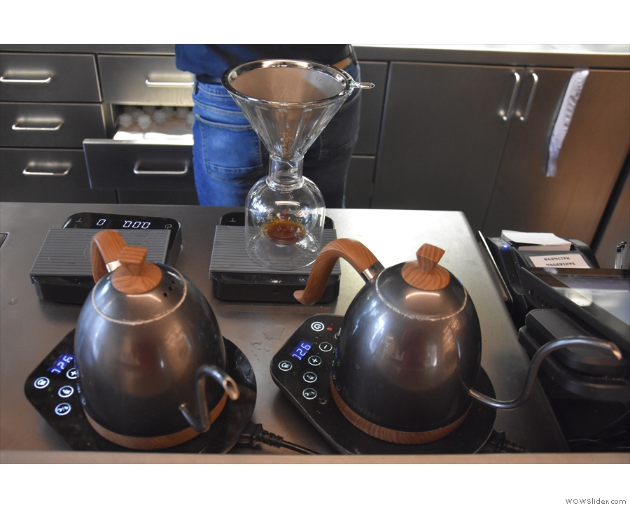 I started with the Peruvian single-origin as a pour-over, which is being prepared here.