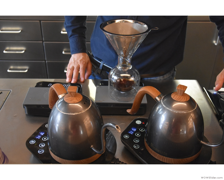 ... the water then being left to filter through. Note that the kettle is put back on the...