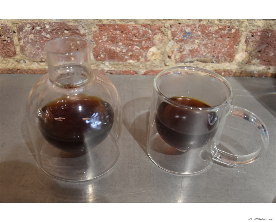 ... in the same a double-walled carafe it was made in, with a double-walled cup on the side.