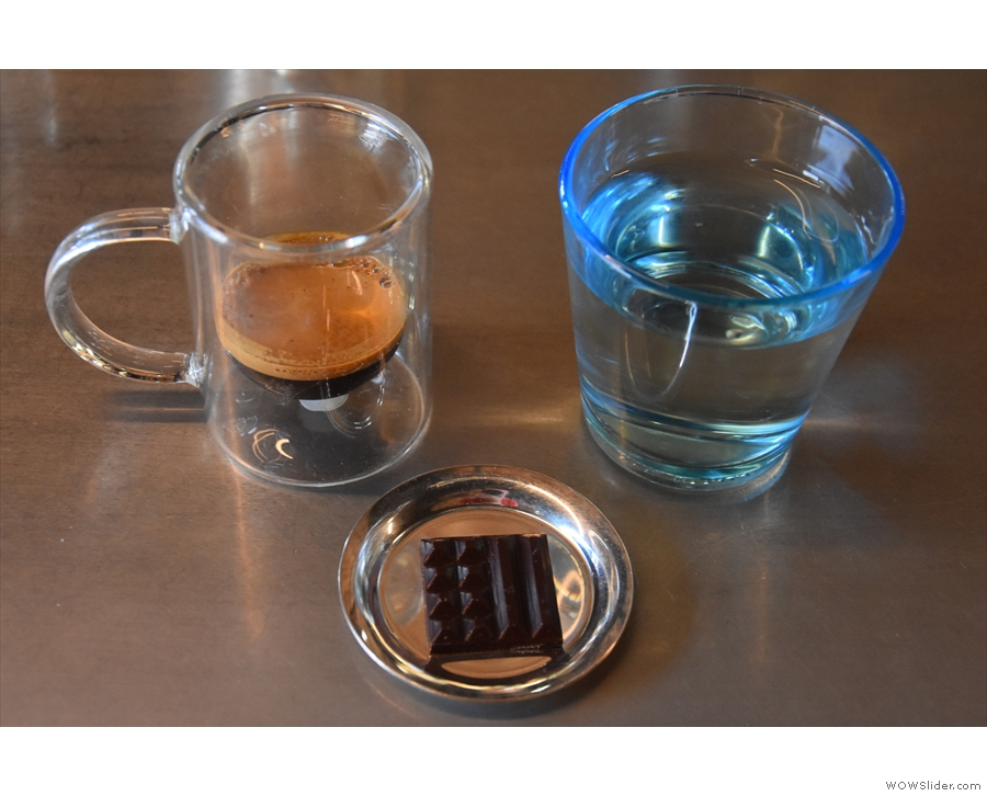 And here's my coffee, again served with a square of chocolate...