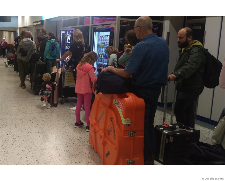 The queue for oversized baggage. Well, half of it.