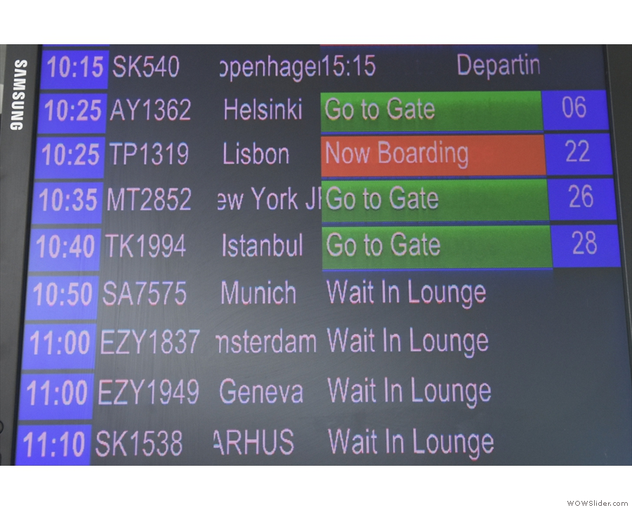 Okay, that's my flight to Helsinki on the board. Time to go to the gate.