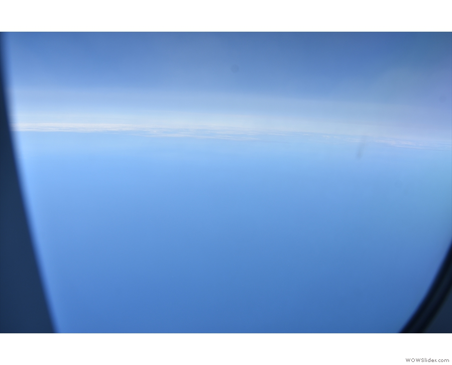 And now nothing but blue as we head out over the North Sea.