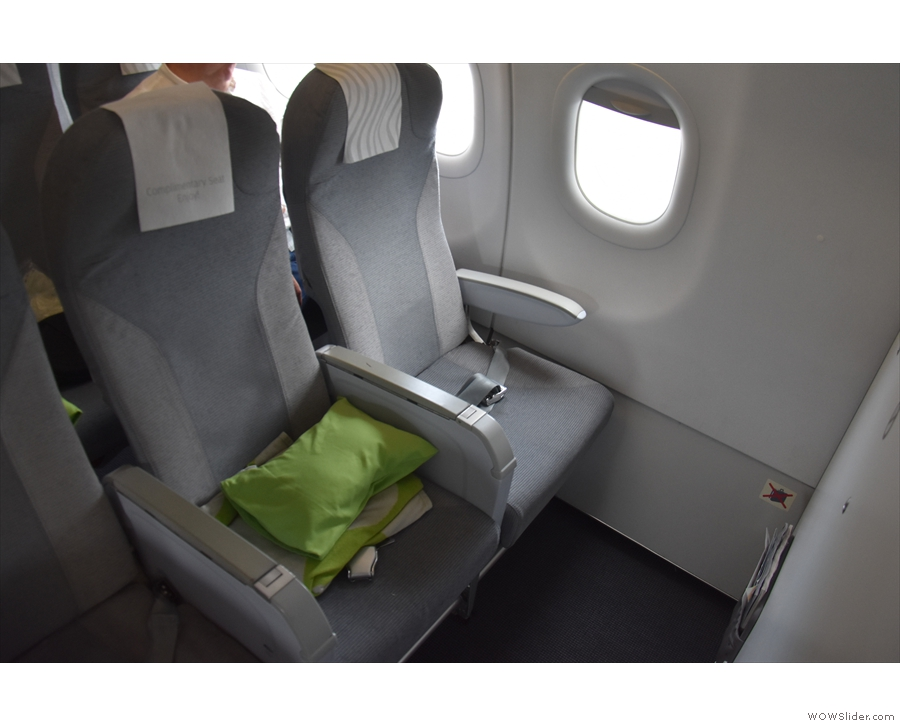 I was in Seat 1A, right at the front. The middle seat is left vacant in business class.