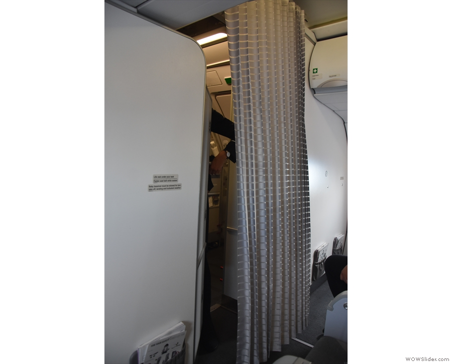 During the flight, the curtain was pulled across.