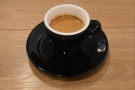 My coffee from my first visit with Christopher: the house-blend as an espresso...