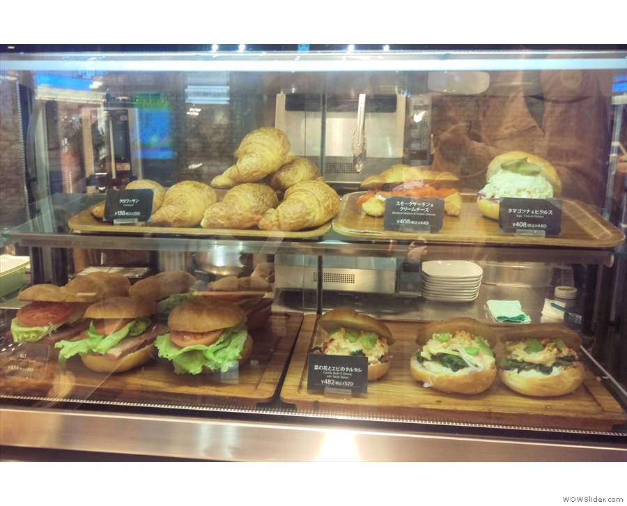 During the day, the display case on top has a selection of sandwiches, seen here in 2017...