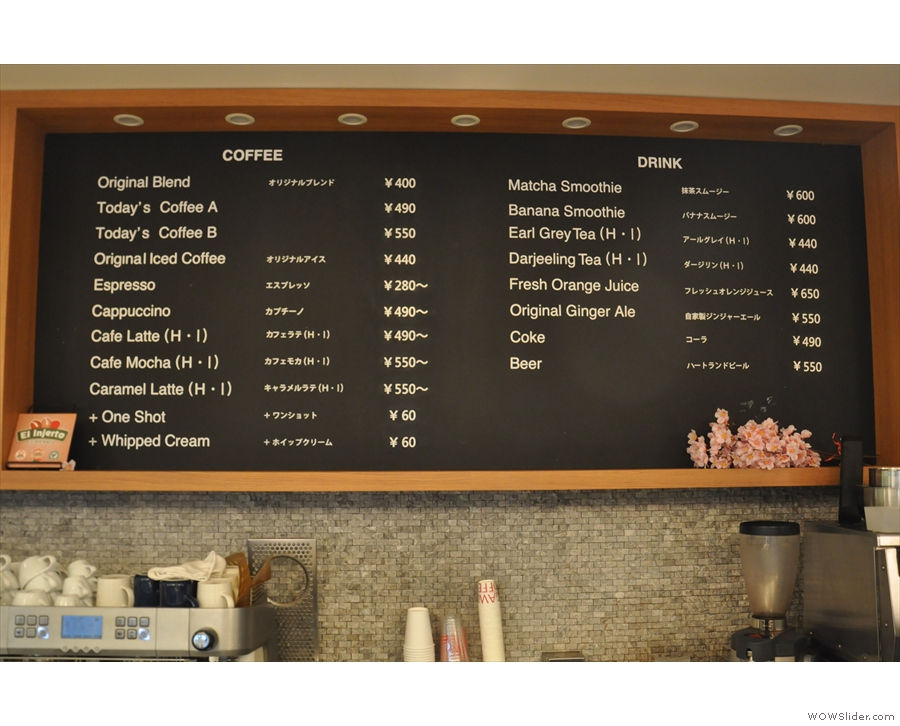 The drinks menu is on the board above the counter, with a more detailed menu...