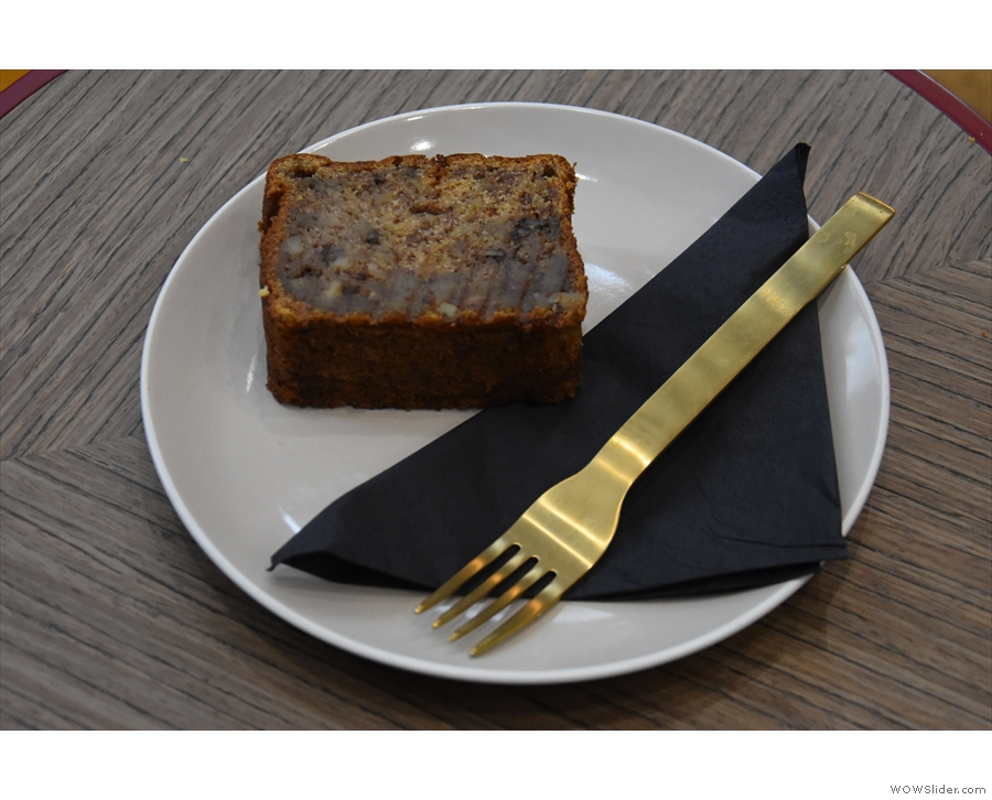 I decided to have a slice (or is that slab?) of the banana bread...