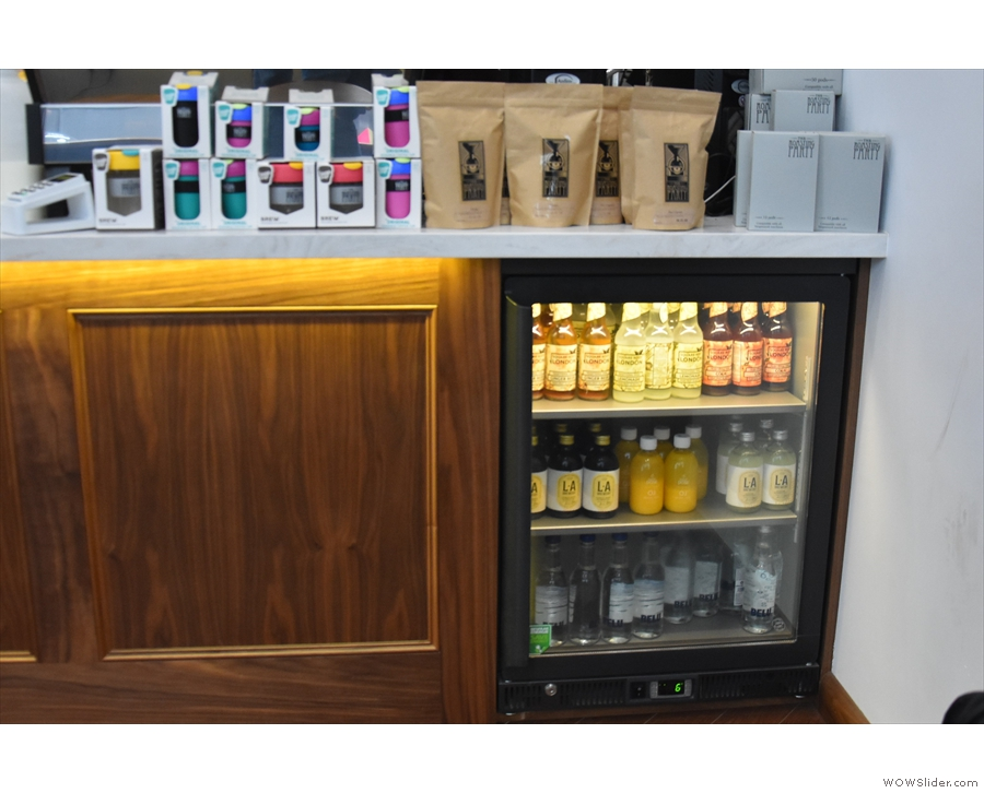 ... with more retail bags and a fridge down below for soft drinks.