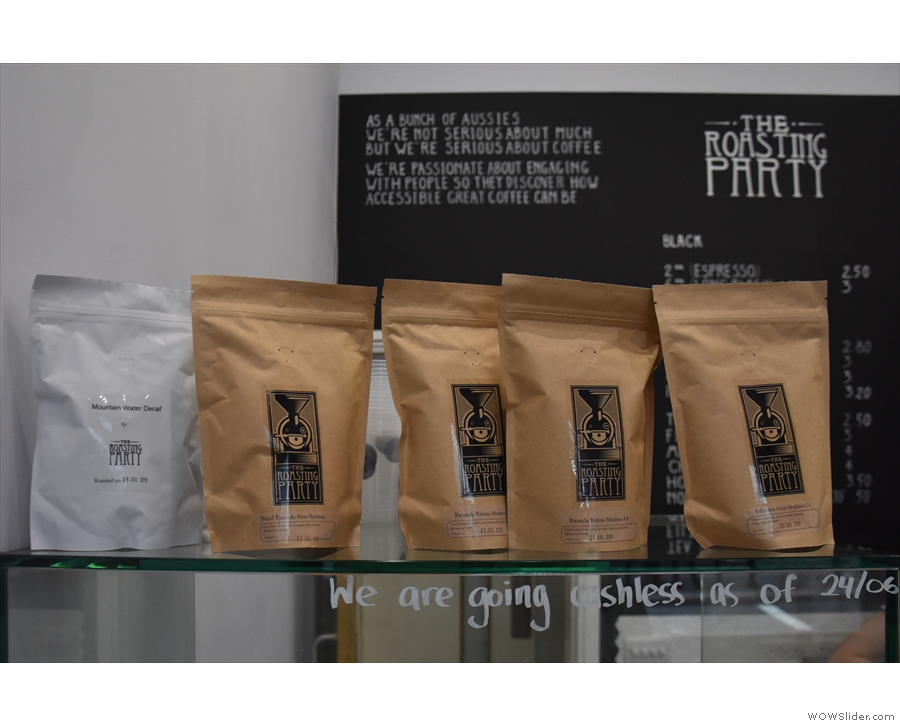 There are various single-origins for sale, along with the two espresso blends.