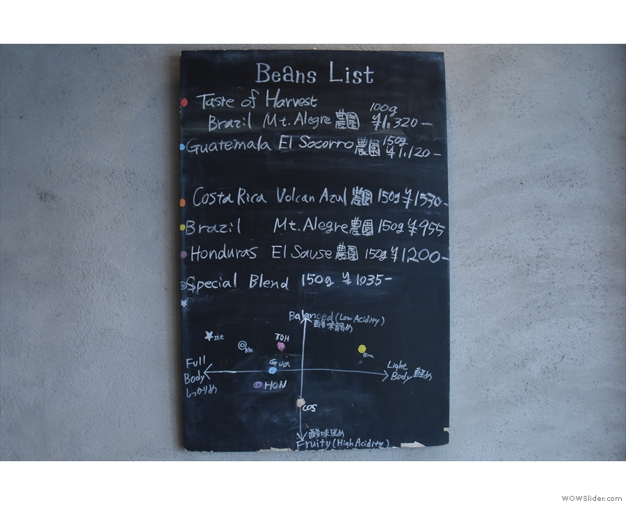 There's also a list of retail coffee, with tasting notes, on the wall to the right of the counter.