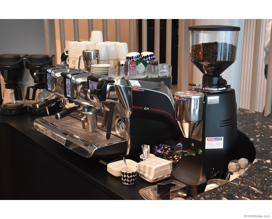 Which has a very fine Faema E71 espresso machine. Well, it would be a shame not to...