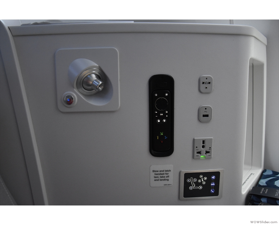 The array of sockets, controls and other bits and pieces in the seat casing. This includes...
