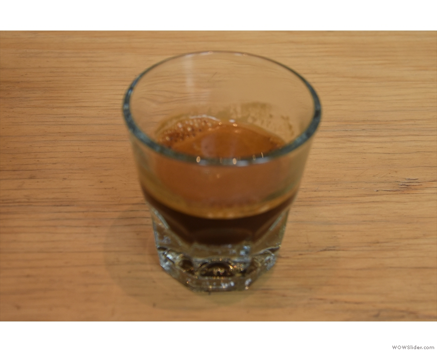 From my very first visit in July 2018: the Burundi single-origin espresso in a glass.