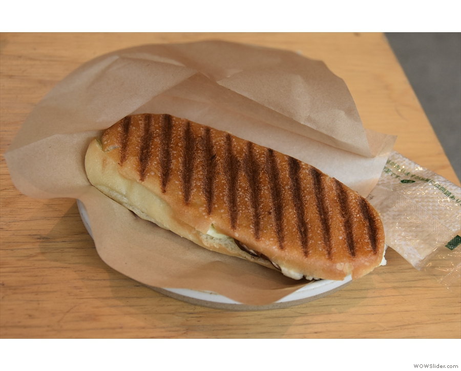 I had this tasty vegetarian panini for lunch, sadly no longer on the menu.