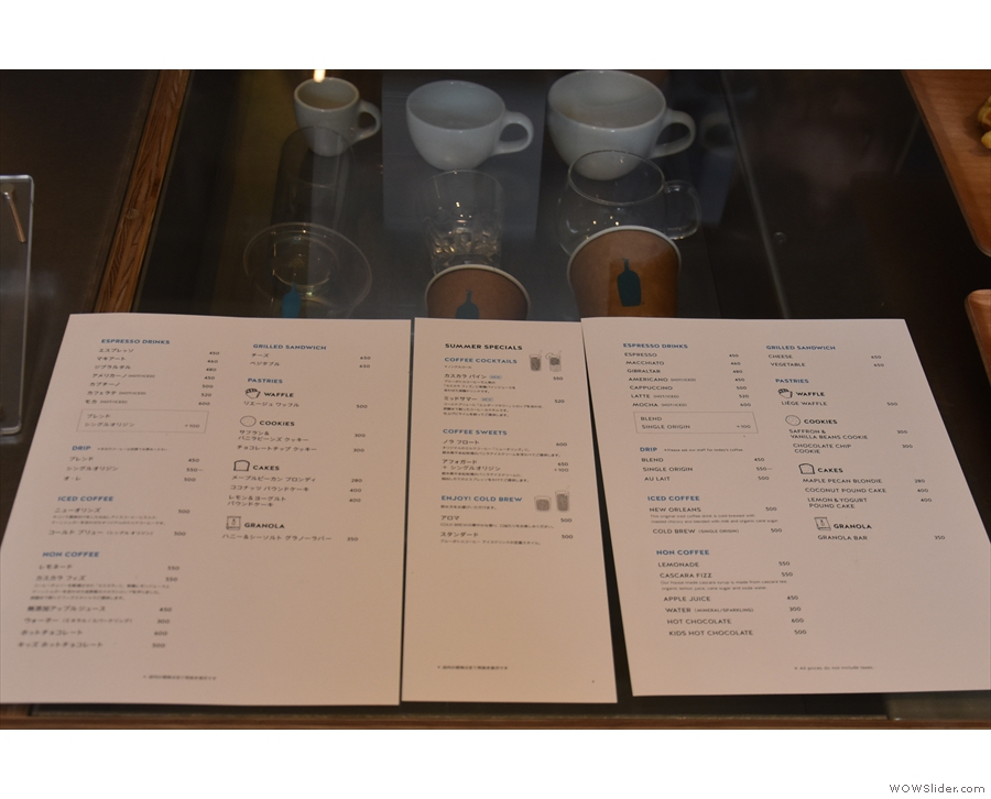There's a comprehensive menu, with one side in English, the other in Japanese.
