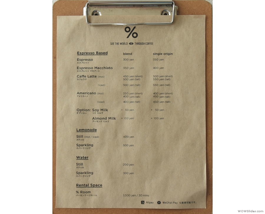 The menu is wonderfully concise, offering a blend and single-origin...