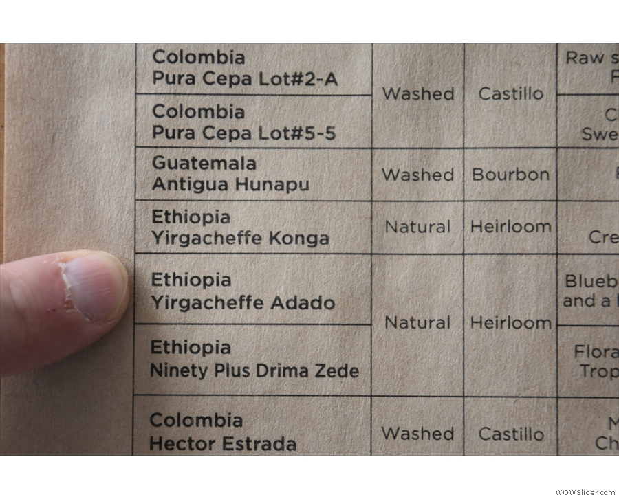 ... which used to rotate monthly, but is currently this Ethiopian Yirgacheffe Adado.