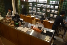 The view of the counter from halfway up the stairs.