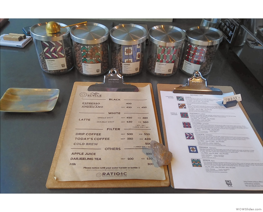 On my return, this was the menu, looking very similar, with the choice of beans in jars...