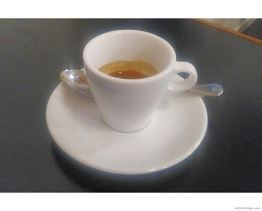 Again, the first espresso comes in a tulip-shaped cup...
