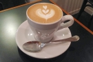 This is followed by the same coffee in a cappuccino, serevd in a classic tulip cup...