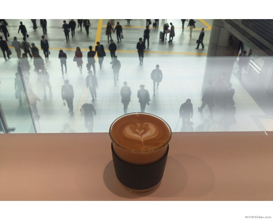 My cappuccino, admiring the view in the days before the photography ban.