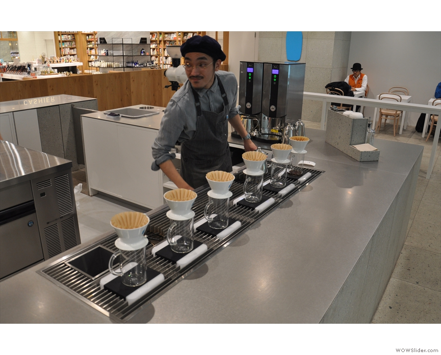 ... and past the row of six Blue Bottle drippers (seen here in 2017)...